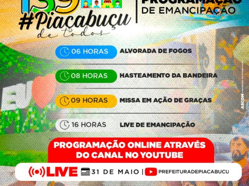 Emancipação política de Piaçabuçu será comemorada com lives nesta segunda, 31