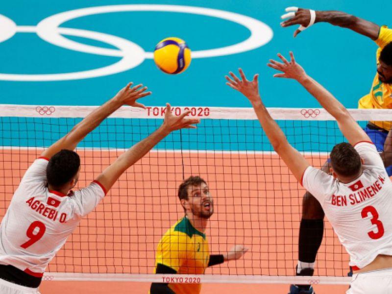 Brasil passa pela Tunísia na estreia do vôlei masculino na Arena de Ariake