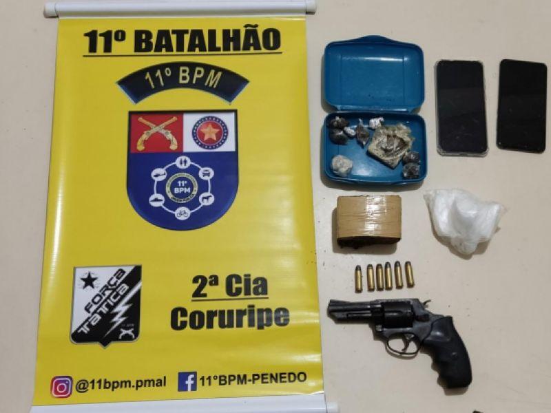 Três jovens são presos e menor apreendido por tráfico de drogas em Coruripe